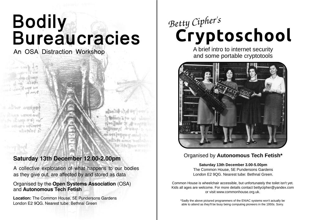 Two flyers - Boidly Bureaucracies and Betty Cipher's Cryptoschool